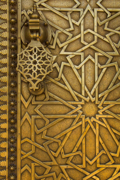 Famous Brass Gates of Dar el-Makhzen Royal Palace in Fez, Morocco stock photo