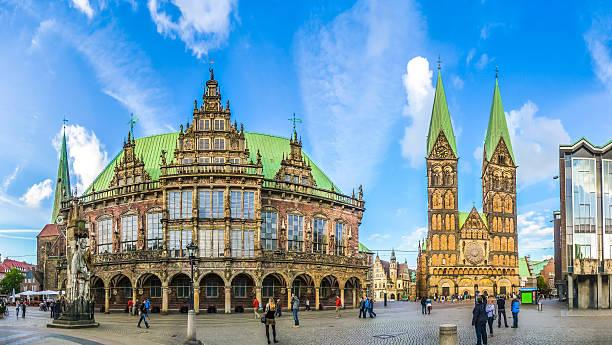 Famous Bremen Market Square in the Hanseatic City Bremen, Germany stock photo