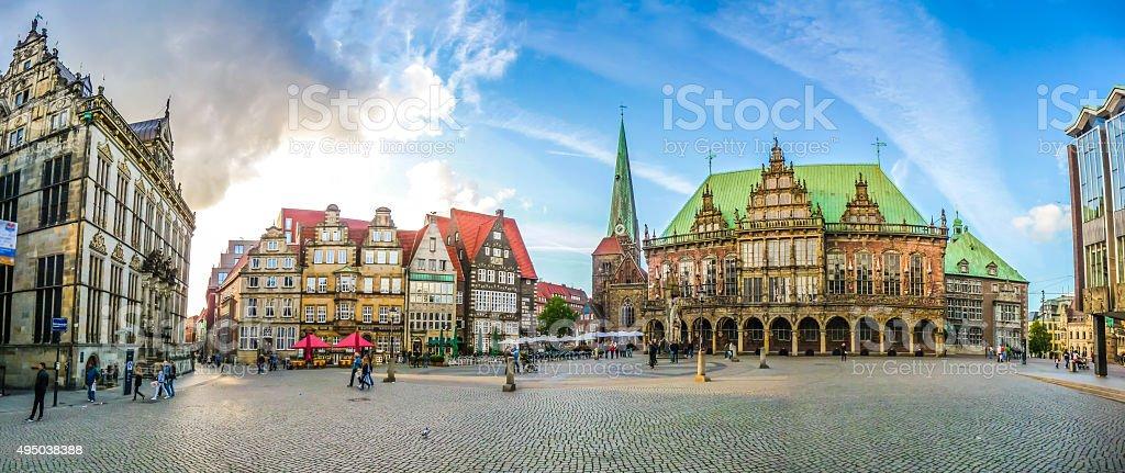 Famoso Bremen Hanseatic Market Square en la ciudad de Bremen, Alemania - foto de stock