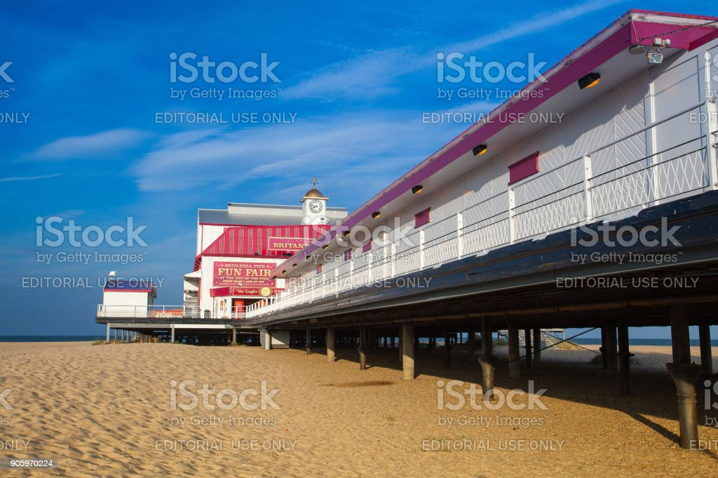 Famous Britannia pier in in Great Yarmouth. stock photo