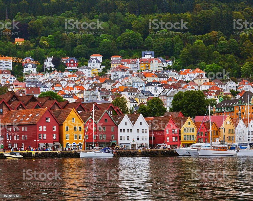 Famous Bryggen street in Bergen - Norway bildbanksfoto