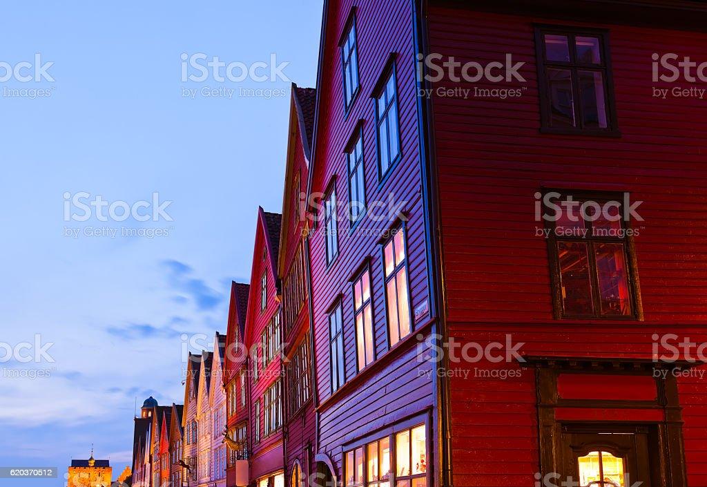 Słynne Bryggen street w Bergen, Norwegia zbiór zdjęć royalty-free