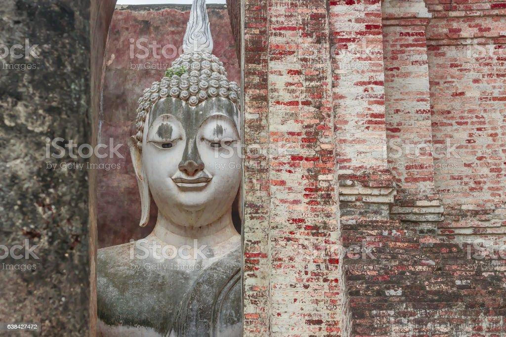 Famous Buddha Image in Sukhothai Historic Park, Thailand stock photo