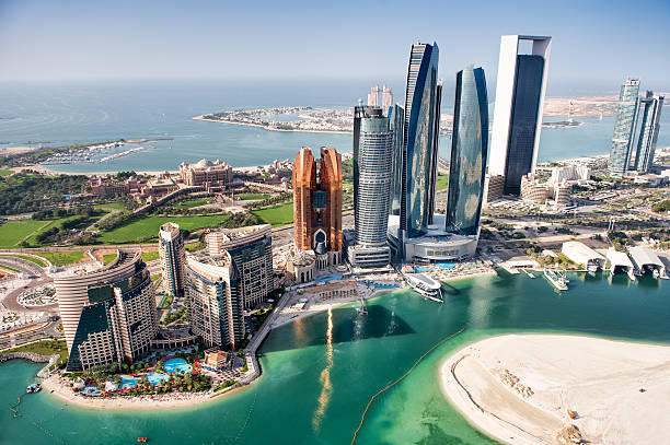 Famous buildings in Abu Dhabi stock photo