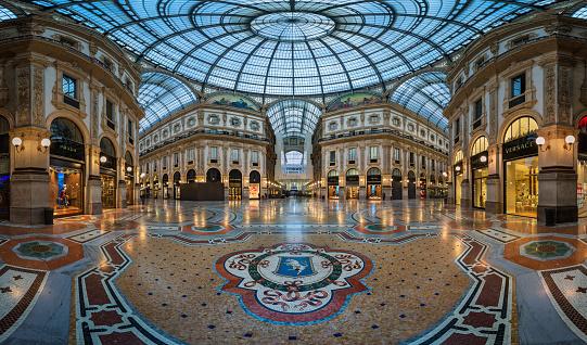 Famous Bull Mosaic in Galleria Vittorio Emanuele II in Milan