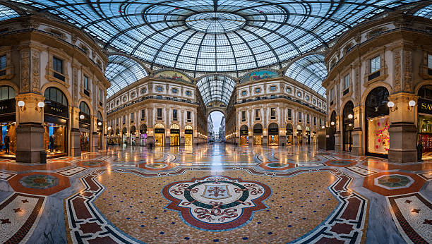 Famous Bull Mosaic in Galleria Vittorio Emanuele II in Milan stock photo