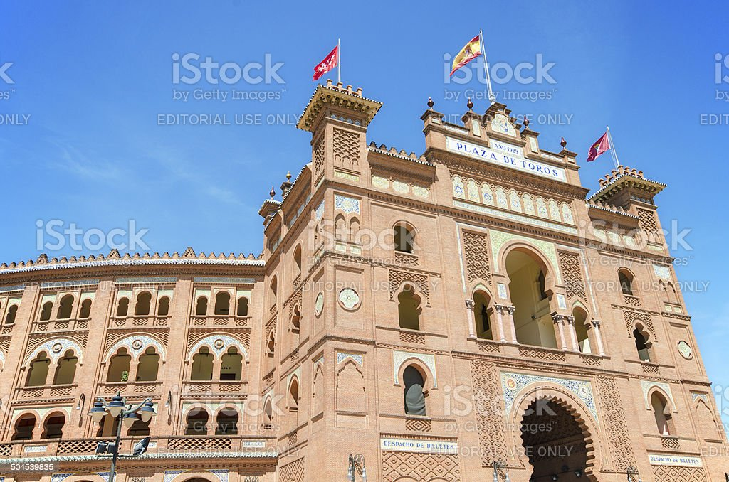 Famous Bullfighting arena in Madrid. Plaza de toros las Ventas stock photo