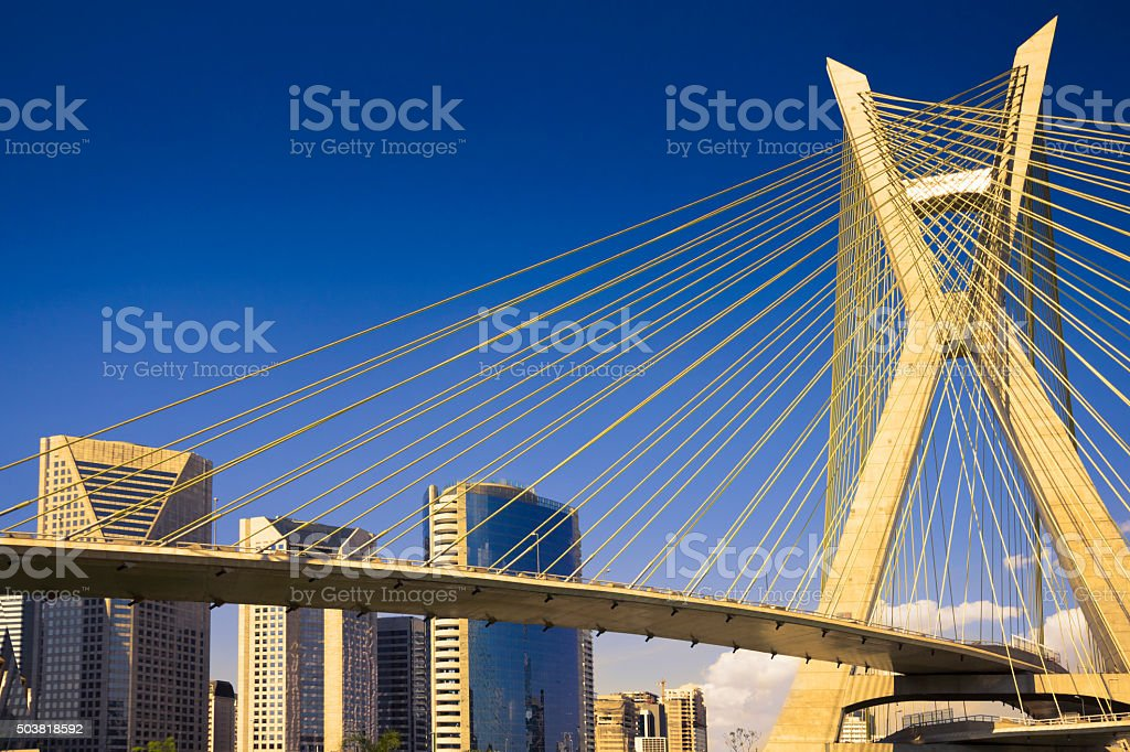 Famous cable-stayed bridge at Sao Paulo city. stock photo