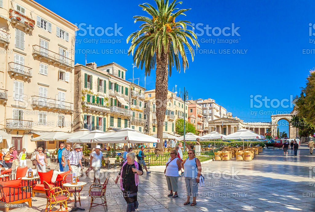 Famous cafes at building at Kapodistriou street stock photo
