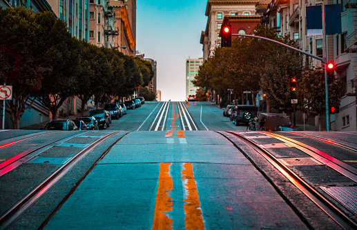 istock Famous California Street at dawn, San Francisco, California, USA 1034326752