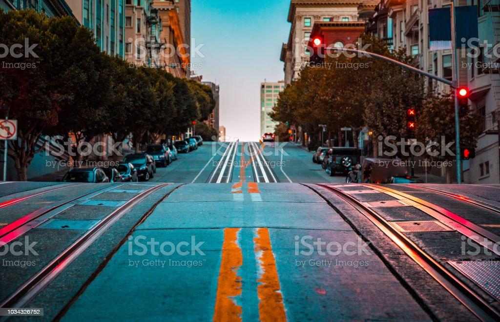 Famous California Street at dawn, San Francisco, California, USA stock photo