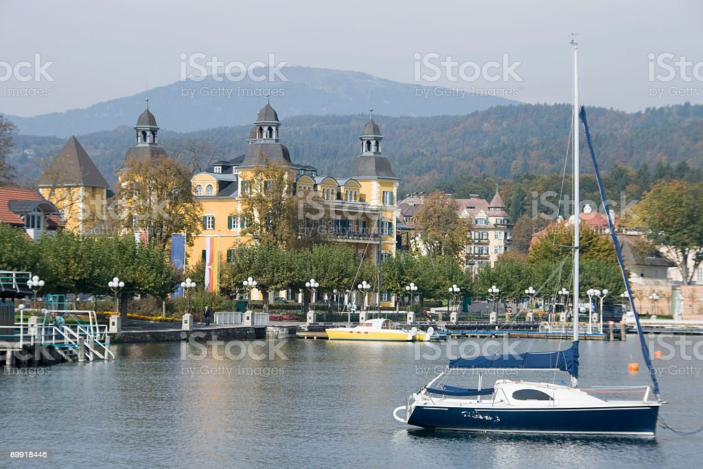 Famous castle at lake Wörthersee in Velden, Carinthia, Austria royalty-free stock photo