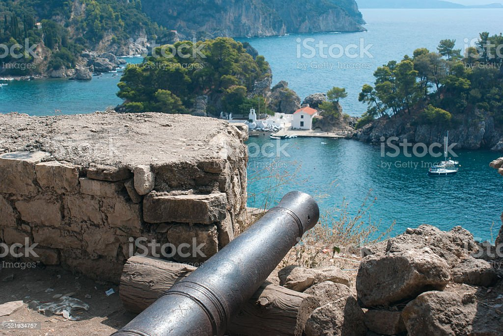 Famous castle of Templar knights at Nafplion in Greece stock photo
