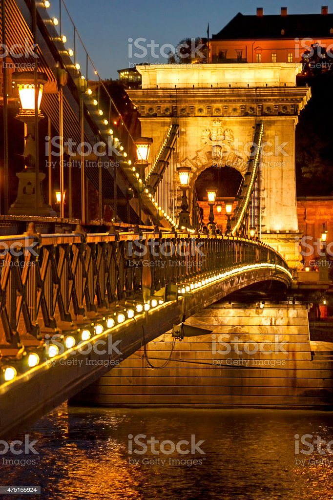 Famous Chain Bridge illuminated at night stock photo