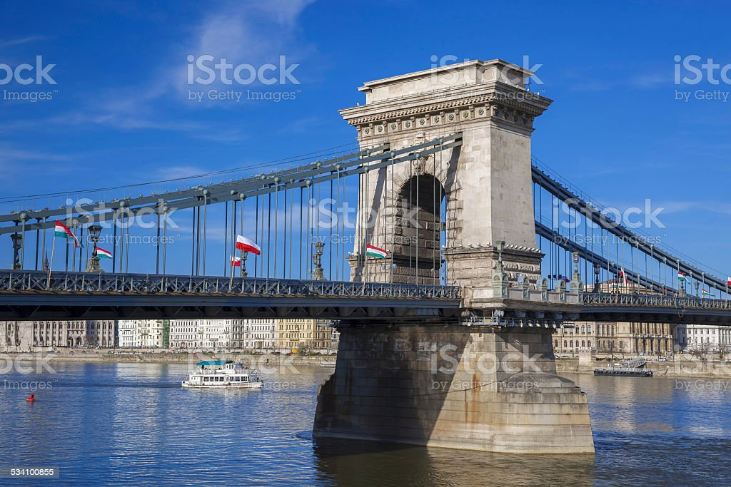 Famous chain bridge in Budapest,  Hungary stock photo
