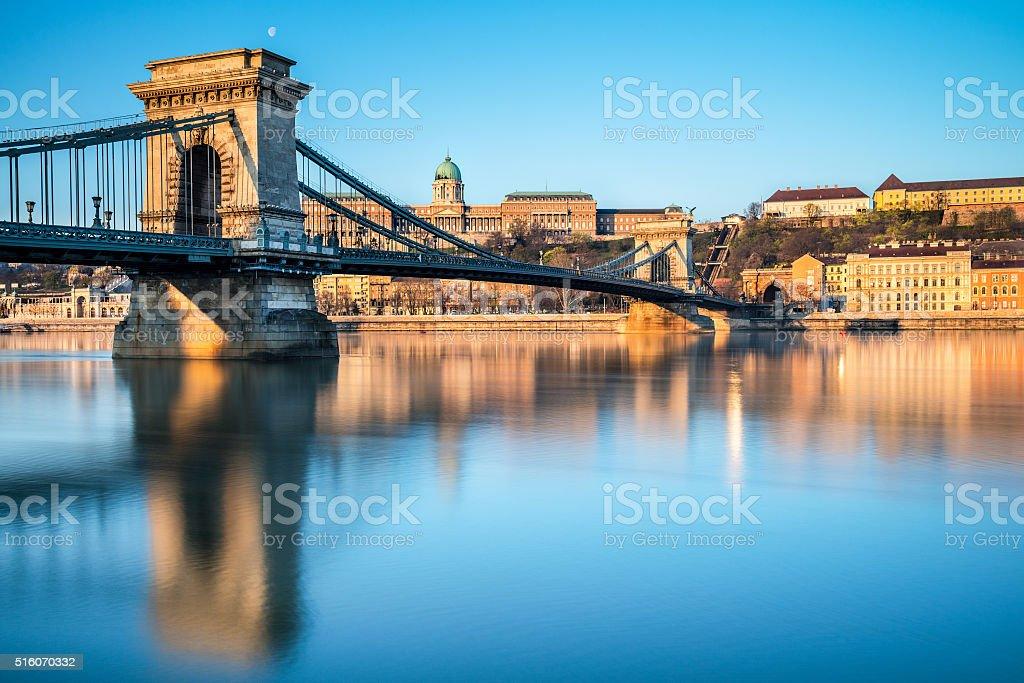 Famous Chain Bridge in Budapest stock photo