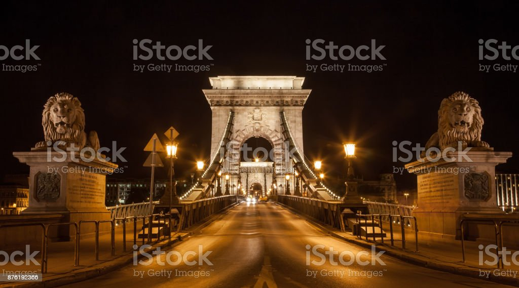 Famous Chain Bridge in Budapest stock photo