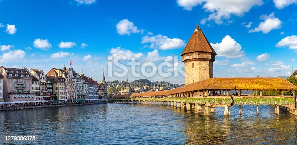istock Famous Chapel bridge in Lucerne 1279386375