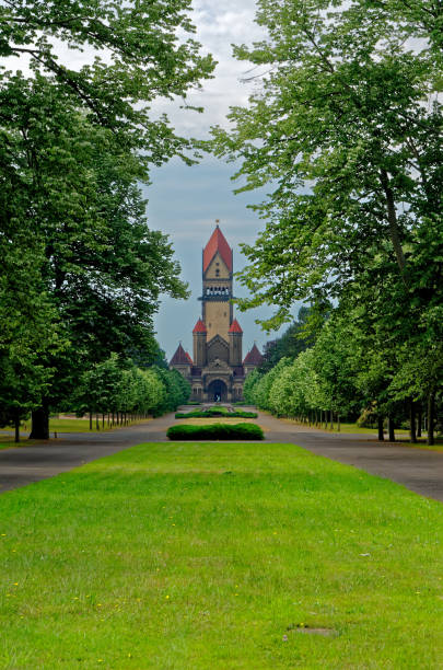 Famous chapel complex in South Cemetery in Leipzig, Germany stock photo