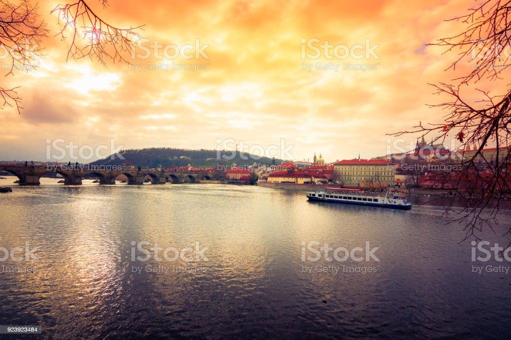 Famous Charles Bridge and tower, Prague, Czech Republic stock photo