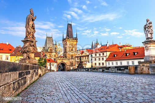 Famous Charles Bridge over the Vltava river in Prague, Czech Republic.