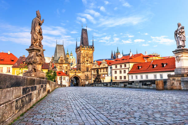 Famous Charles Bridge over the Vltava river in Prague, Czech Republic Famous Charles Bridge over the Vltava river in Prague, Czech Republic. prague stock pictures, royalty-free photos & images