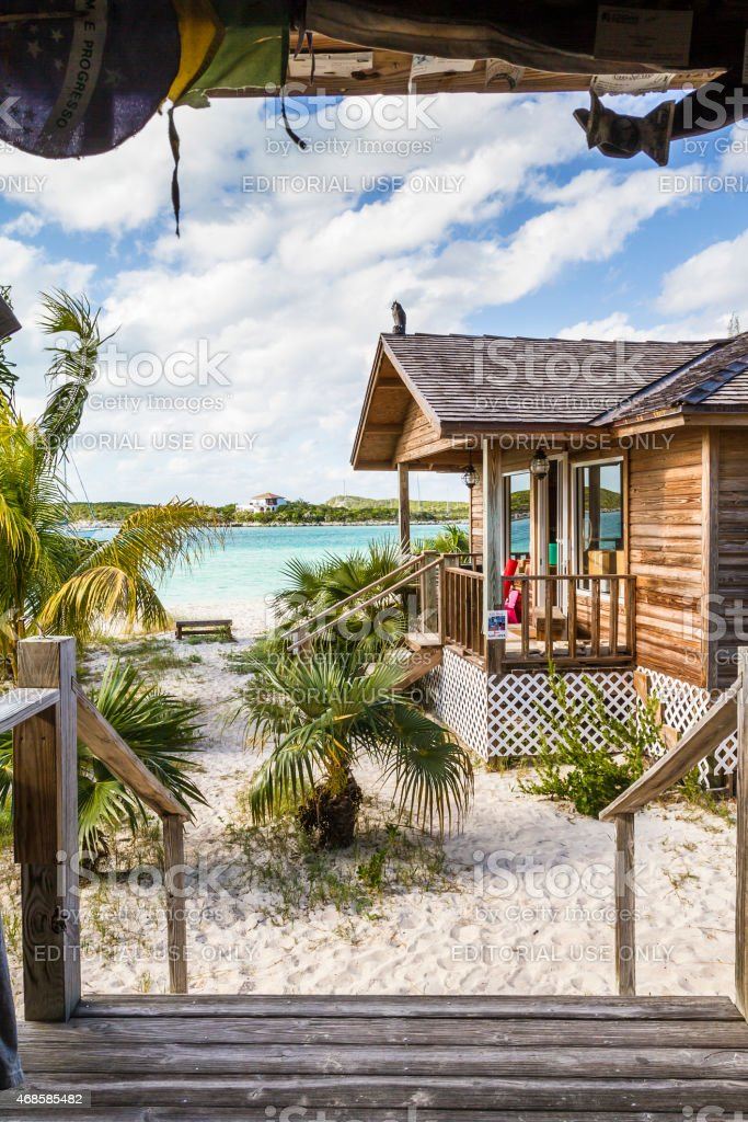 Famous Chat'n'chill Conch bar in Stocking Island  (Exuma - Bahamas) stock photo