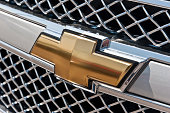 istock Famous Chevrolet Bow-Tie Emblem On Silverado Grill 458656273