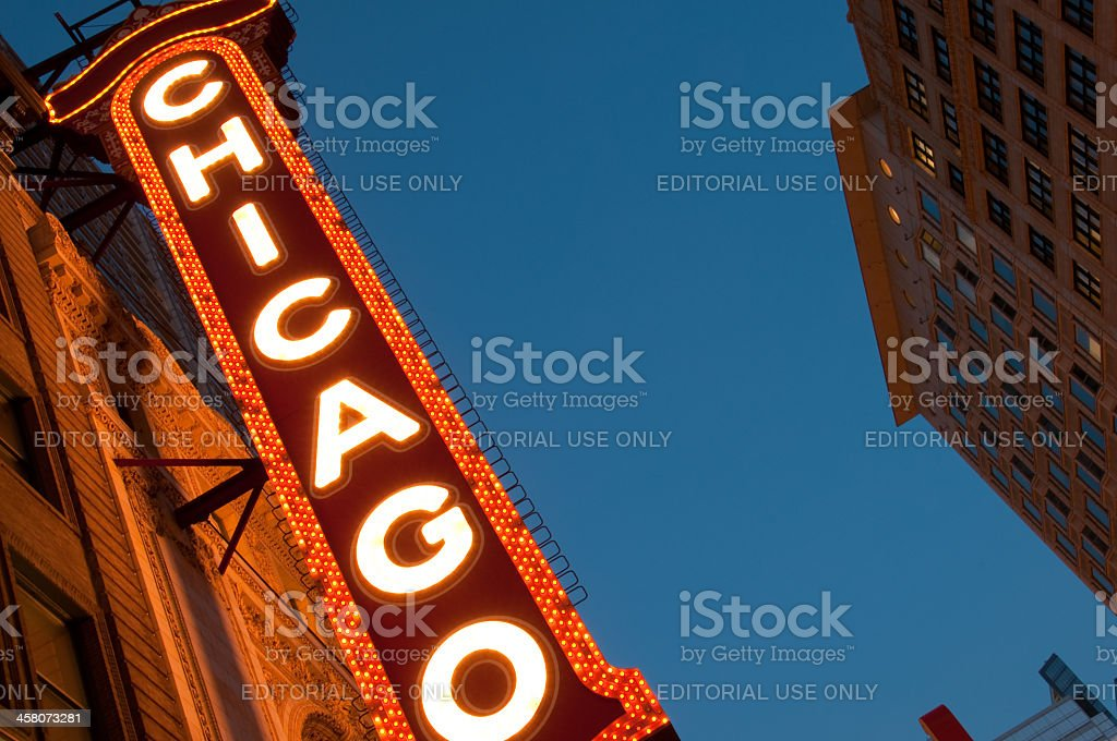 Famous Chicago Marquee Theater Sign royalty-free stock photo