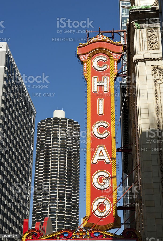 Famous Chicago Theater Sign stock photo