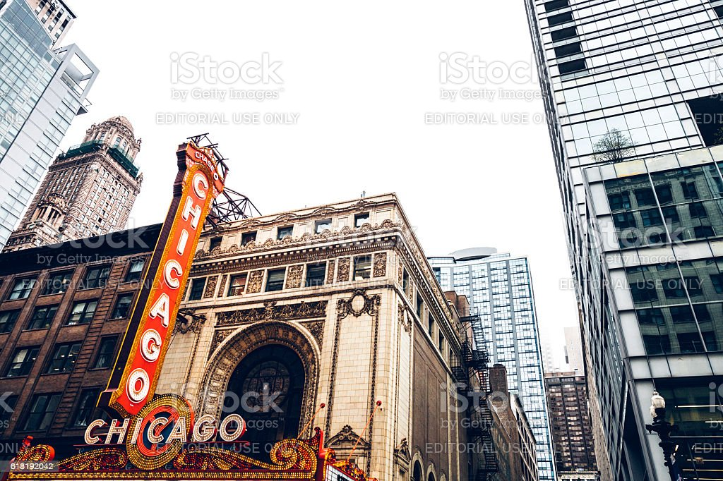 Famous Chicago Theatre in downtown. stock photo