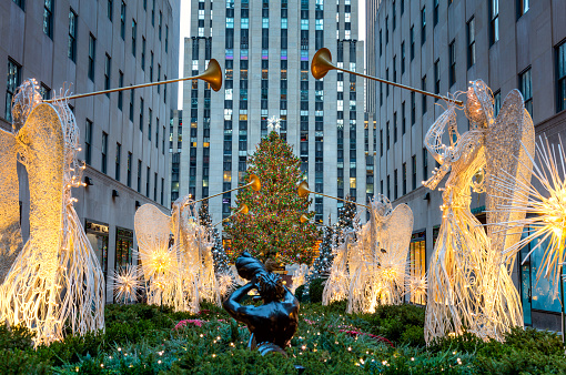 Famous Christmas Decoration with Angels and Christmas Tree, NYC
