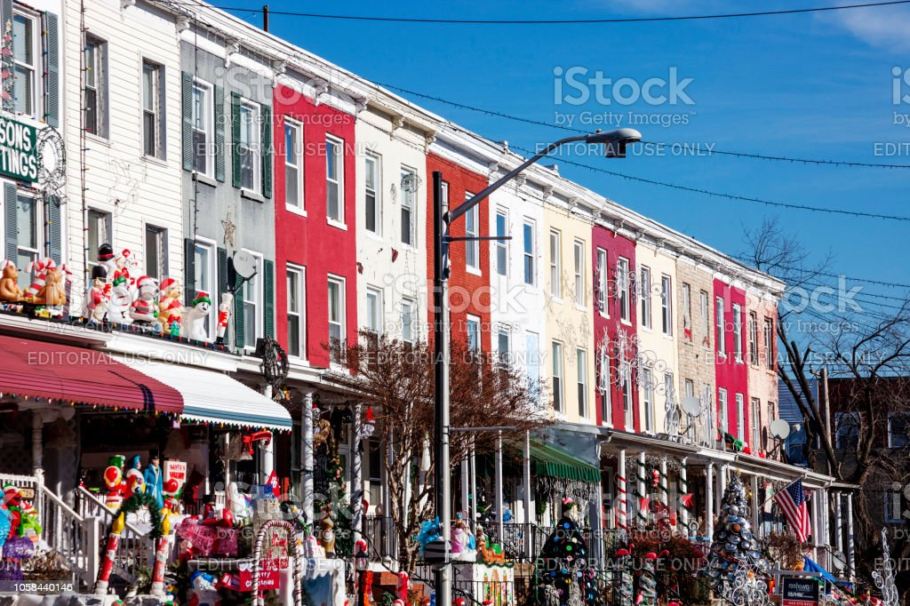 Famous Christmas decorations at Hampden district - Baltimore, MD stock photo