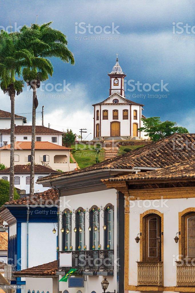 Famous church in Serro city, State of Minas Gerais stock photo