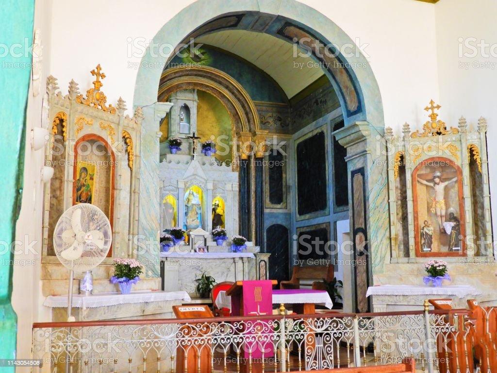 Famous church on the Arraial d'Ajuda, Bahia, Brazil. Church, temple,...