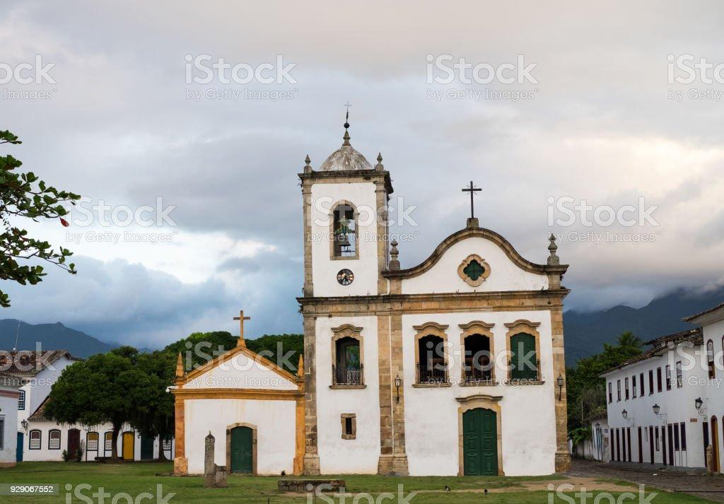 Famous church, Paraty, Rio de Janeiro, Brazil stock photo