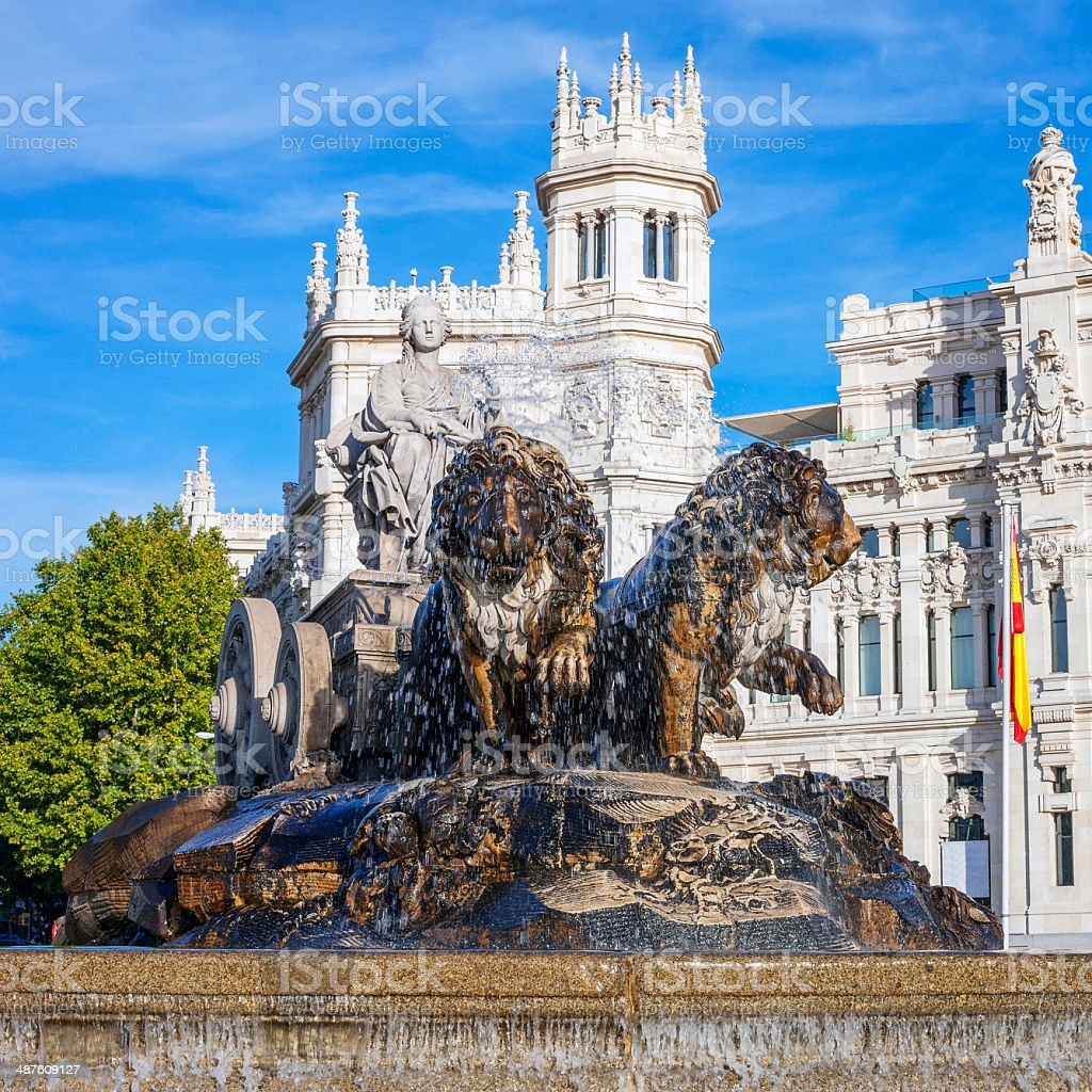 Famous Cibeles Palace and fountain stock photo