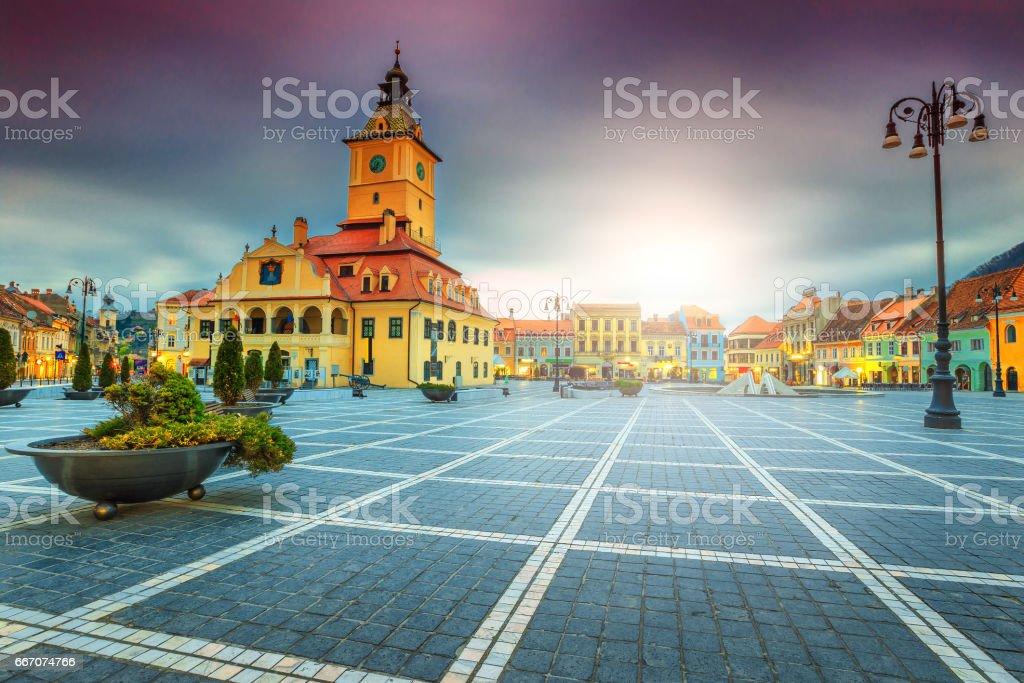 Famous city center with Council Square in Brasov, Transylvania, Romania stock photo
