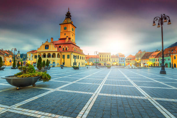 Famous city center with Council Square in Brasov, Transylvania, Romania stock photo