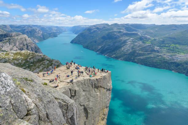 Famous cliff Pulpit Rock (Preikestolen) in Norway Popular hiking destination in Norway, Rogaland norwegian culture stock pictures, royalty-free photos & images