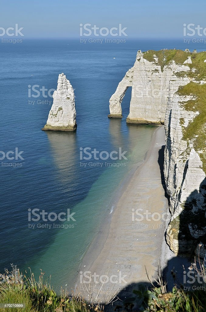 Famous cliffs of Etretat in France stock photo