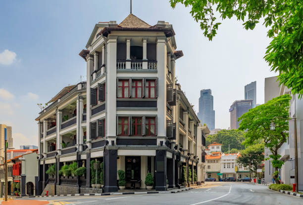 Famous Club street in Singapore Chinatown with colorful colonial shop houses stock photo