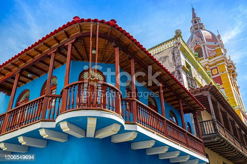 Famous colonial Cartagena Walled City (Cuidad Amurrallada) and its colorful buildings in historic city center, designated a UNESCO World Heritage Site