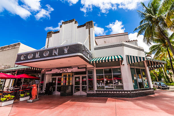 Famous Colony Art Deco Theater Miami, USA - August 1, 2013: Famous Colony Art Deco Theater renovated for 6,5 Million US $ and open for public again in Miami, USA. The Colony Theater was build in 1934 in art deco style to entertain the visitors. southern charm stock pictures, royalty-free photos & images