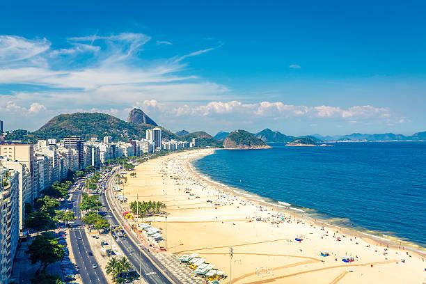 Famous Copacabana Beach in Rio de Janeiro, Brazil stock photo