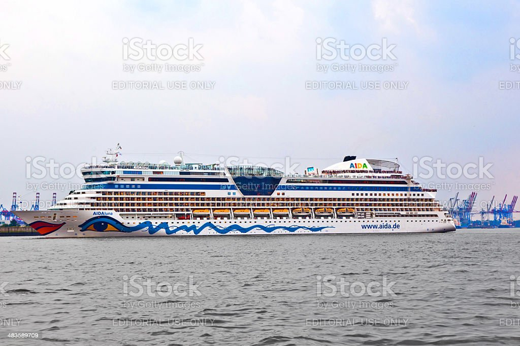famous cruise liner AIDA leaves the harbor stock photo