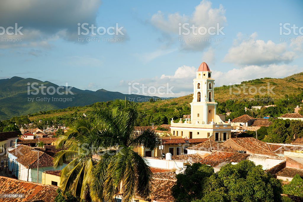 Famous Cuban city Trinidad with old church tower Convent stock photo