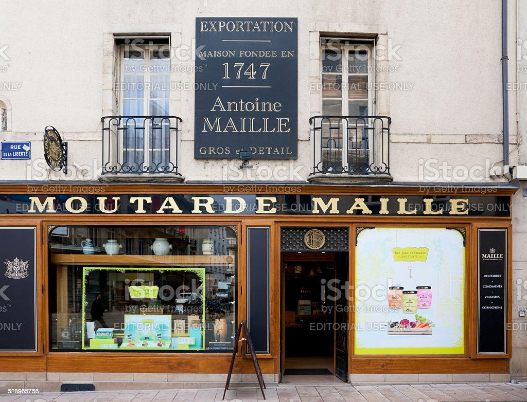 Famous Dijon mustard shop stock photo