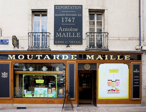 Famous Dijon mustard shop stock photo