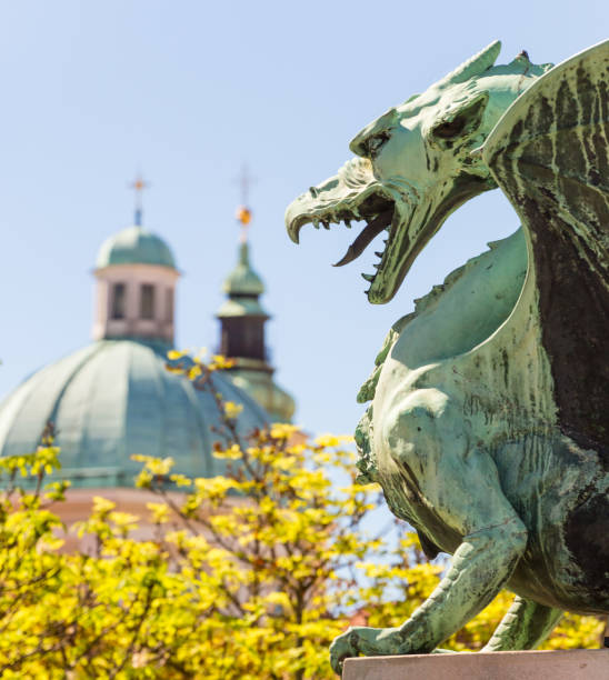 Famous Dragon bridge, symbol of Ljubljana, Slovenia, Europe. Famous Dragon bridge, Zmajski most, symbol of Ljubljana, capital of Slovenia, Europe. ljubljana castle stock pictures, royalty-free photos & images